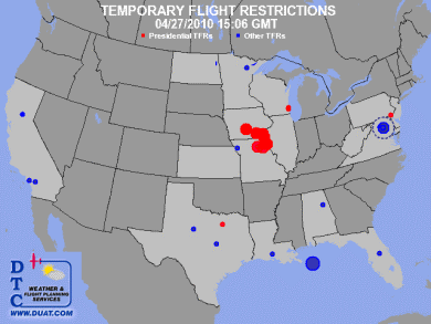 but there are temporary flight restrictions most of these are one day restrictions for specific events the blue dot in the gulf of mexico is because of